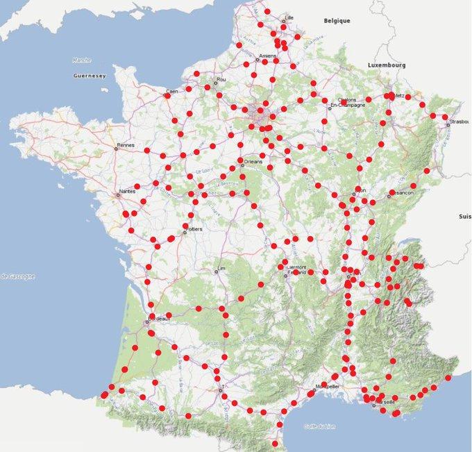 carte autoroute borne de recharge
