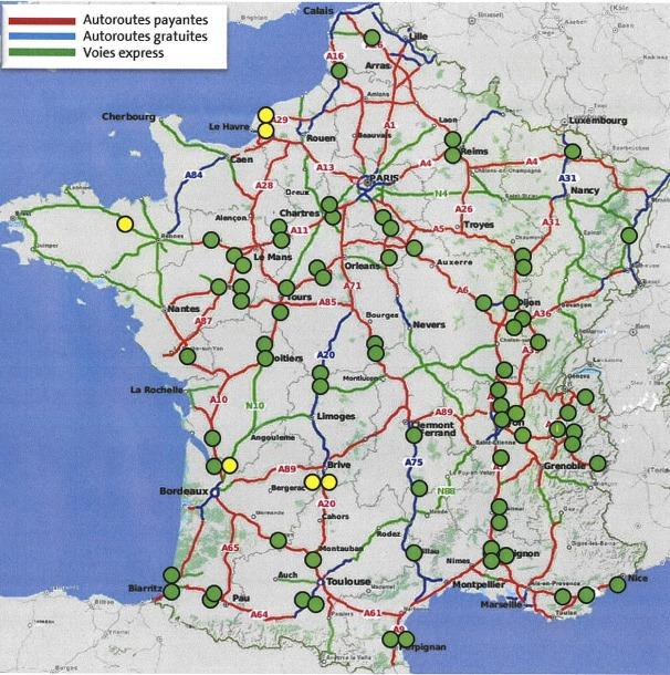 carte de la France montrant les bornes ionity